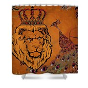 Lion And The Peacock Shower Curtain