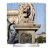 Lion Sculpture On Chain Bridge In Budapest Shower Curtain