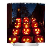 Lit Pumpkins With Demon On Halloween Shower Curtain