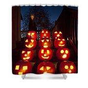 Lit Pumpkins With Demon On Halloween Shower Curtain