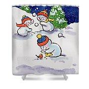 Little Snowmen Snowballing Shower Curtain