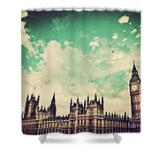 London Uk Big Ben The Palace Of Westminster Shower Curtain