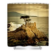 Lone Cypress Detail 2 Shower Curtain