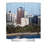 Long Beach Skyline Shower Curtain