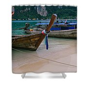 Longtail Boats Moored On The Beach Shower Curtain