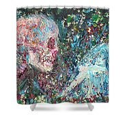 Love Cannot Live By Heavenly Food Alone Shower Curtain by Fabrizio Cassetta