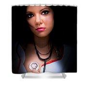 Love Struck Stethoscope Nurse Shower Curtain