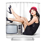 Lovely Asian Pinup Girl Posing On Vintage Tv Set Shower Curtain