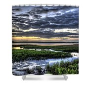 Cloud Reflections Over The Marsh Shower Curtain