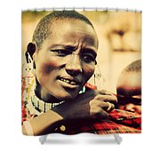 Maasai Baby Carried By His Mother In Tanzania Shower Curtain