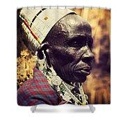 Maasai Old Woman Portrait In Tanzania Shower Curtain
