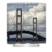 Mackinaw Bridge By The Straits Of Mackinac Shower Curtain