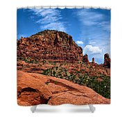 Madonna And Child Two Nuns Rock Formations Sedona Arizona Shower Curtain
