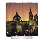 Madrid Cathedral Sunset Shower Curtain