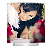 Maid Of Honour Signing Wedding Registar Shower Curtain