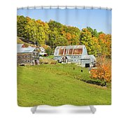 Maine Farm On Side Of Hill In Autumn Shower Curtain
