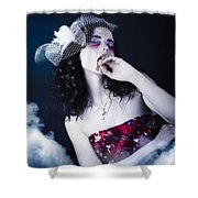 Makeup Beauty With Gothic Hair And Bloody Mouth Shower Curtain