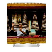 Man Lighting Incense In Chinese Temple Vietnam Shower Curtain