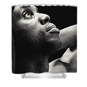 Man Looking Up Shower Curtain
