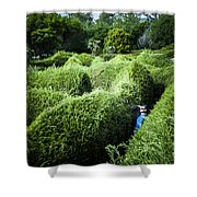 Man Lost Inside A Maze Or Labyrinth Shower Curtain