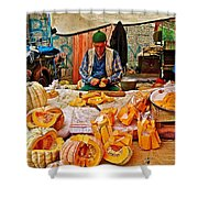 Man Peeling Squash In Antalya Street Market-turkey Shower Curtain