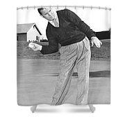 Man Posing With Sports Gear Shower Curtain