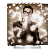 Man Problem Solving Question With Search Light Shower Curtain