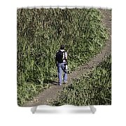 Man With A Canon Camera And Lens In Greenery Shower Curtain