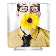 Man With Flower In Mouth Shower Curtain