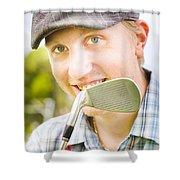 Man With Golf Club Shower Curtain