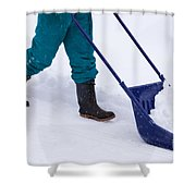 Manual Snow Removal With Snow Scoop After Blizzard Shower Curtain