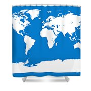 Map In Blue And White Shower Curtain