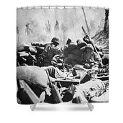 Marines Fight At Tarawa Shower Curtain