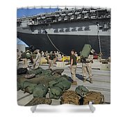 Marines Move Gear During An Embarkation Shower Curtain by Stocktrek Images