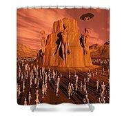 Martians Gathering Around A Monument Shower Curtain