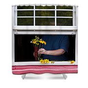 Mature Woman Cutting Flowers In Window Shower Curtain