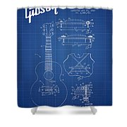 Mccarty Gibson Stringed Instrument Patent Drawing From 1969 - Bl Shower Curtain