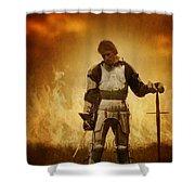 Medieval Knight On A Burning Battlefield Shower Curtain