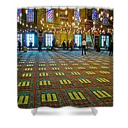 Men Inside The Blue Mosque In Istanbul-turkey Shower Curtain