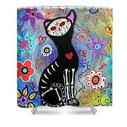 Meow II Day Of The Dead Shower Curtain