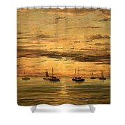 Mesdag's Sunset At Scheveningen -- A Fleet Of Shipping Vessels At Anchor Shower Curtain