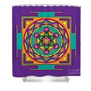 Metatron's Cube Merkaba Mandala Shower Curtain