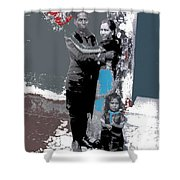 Mexican Soldier With Wife And Child Unknown Location 1915-1920-2014  Shower Curtain
