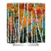 Middle Mountain Aspens Shower Curtain