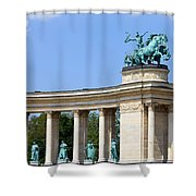 Millennium Monument In Budapest Shower Curtain