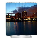 Milwaukee Skyline At Dusk Shower Curtain