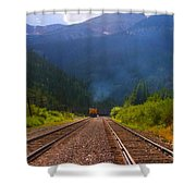 Misty Mountain Train Shower Curtain