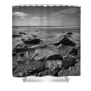 Misty Rocks Bw Shower Curtain