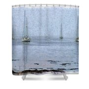 Misty Sails Upon The Water Shower Curtain