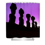 Moais Easter Island Chile Shower Curtain